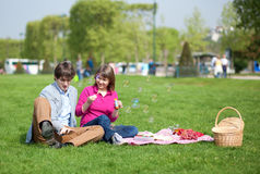 Happy young couple having a picnic Stock Photos