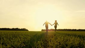 Happy young couple holding hands, running through a wide field on a sunset background. Village. A man and a woman run stock video footage