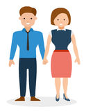 Happy young couple holding hands and smiling. European cute family. Cartoon vector flat-style illustration Stock Images