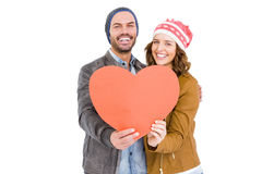 Happy young couple holding heart Stock Photography