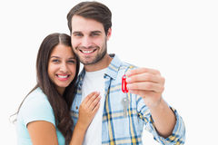 Happy young couple holding new house key Royalty Free Stock Photo