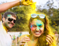 Happy young couple on holi color festival. Portrait of happy couple in love on holi color festival Royalty Free Stock Photos
