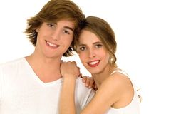 Happy young couple hugging Royalty Free Stock Photos