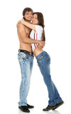 Happy young couple hugging Stock Image