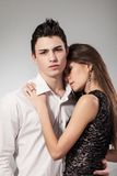 Happy young couple hugging. First love Stock Photo
