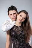 Happy young couple hugging. First love Royalty Free Stock Image