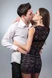 Happy young couple hugging. First love Royalty Free Stock Photo