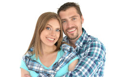 Happy young couple hugging royalty free stock photography