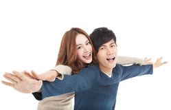 Happy  young couple hugging together Stock Images