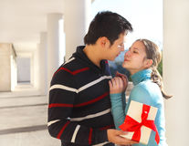 Free Happy Young Couple In Love With Present Stock Photography - 28148752
