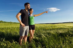 Happy Young Couple In The Countryside Royalty Free Stock Photos