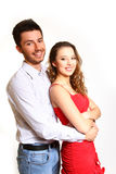 Happy young couple isolated on white background Royalty Free Stock Photography