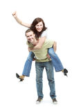 Happy young couple in jeans royalty free stock images
