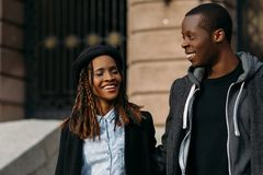 Happy young couple. Joyful African American. Stylish black people on street, youth love relationships, happiness concept Stock Photography