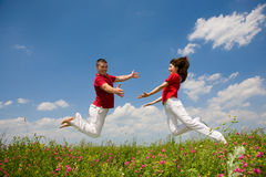 Happy Young Couple jumping Royalty Free Stock Image
