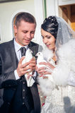 Happy young couple just married Stock Image