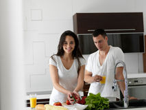 Happy young couple in kicthen Stock Image