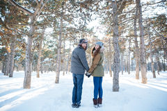 Happy young couple looking back  in winter park Royalty Free Stock Photo