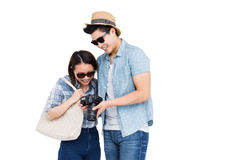 Happy young couple looking in camera Royalty Free Stock Photo