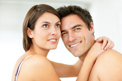 Happy young couple looking at copyspace Royalty Free Stock Image