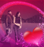 Happy young couple in love. In the night,stylized illustration with red hearts and floral decoration Stock Photos
