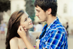Happy young couple in love in city Royalty Free Stock Photos
