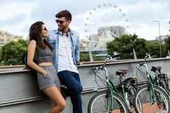 Happy young couple in love in the city Image stock