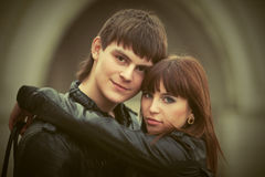 Happy young couple in love in city street Royalty Free Stock Photography