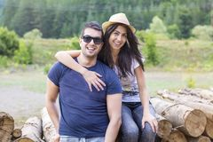 Happy Young Couple in Love stock photography