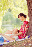 Happy young couple in love hugging Royalty Free Stock Images