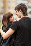 Happy young couple in love outdoor Stock Image