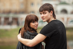 Happy young couple in love outdoor Royalty Free Stock Photography