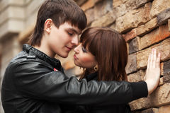 Happy young couple in love outdoor Royalty Free Stock Image