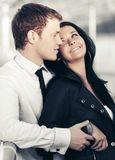 Happy young couple in love outdoor royalty free stock photo