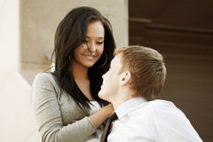 Happy young couple in love outdoor Royalty Free Stock Photos