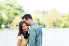 Happy young couple in love outdoor. Royalty Free Stock Photo