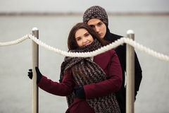 Happy young couple in love outdoor Stock Photos