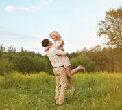 Happy young couple in love. Outdoors Royalty Free Stock Images