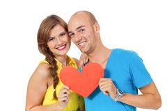 Happy young couple in love with red heart valentines day Stock Image