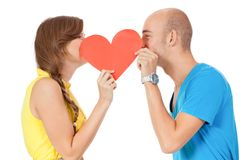 Happy young couple in love with red heart valentines day Royalty Free Stock Images