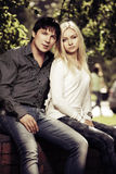 Happy young fashion couple in love outdoor Stock Photo
