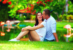 Happy young couple in love sitting near pond with flamingo Stock Images