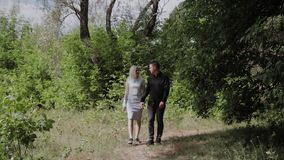 Happy young couple in love walking in the sunny forest holding hands.  stock footage