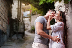 Happy young couple lovestory in city. stock image