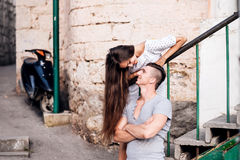 Happy young couple lovestory in city. stock photo