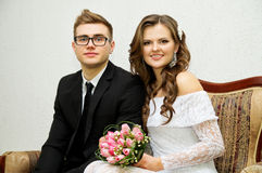 A happy young couple during the marriage Royalty Free Stock Image