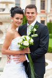 Happy young couple  married. Happy young couple just married - wedding day Royalty Free Stock Photography
