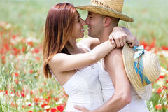 Happy young couple on a meadow Royalty Free Stock Photos
