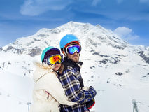 Happy young couple in mountains Royalty Free Stock Photography