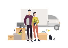 Happy young couple moving into a new house with things. Cartoon illustration in flat style. Happy young couple moving into a new house with things. Cartoon Stock Photo